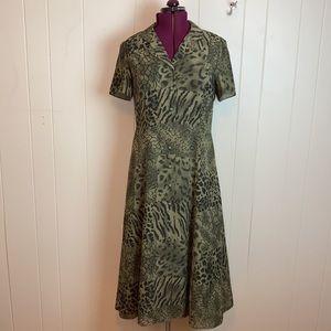 Vintage 80s 90s Animal Print Button Up Shirt Dress